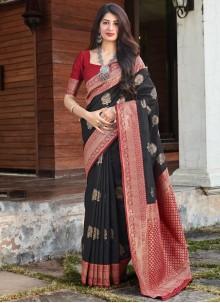 Black Woven Art Silk Traditional Saree