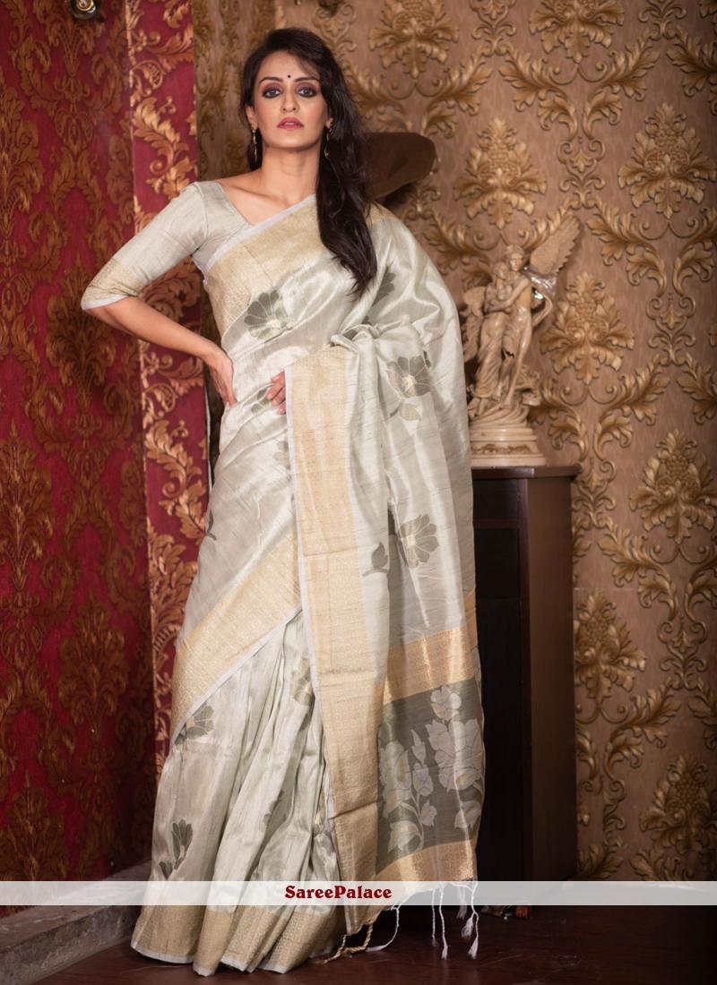 Woven Art Silk Traditional Saree in Grey