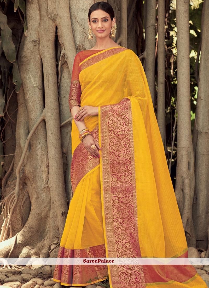 Woven Art Silk Yellow Traditional  Saree