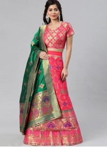 Pink Woven Banarasi Silk A Line Lehenga Choli