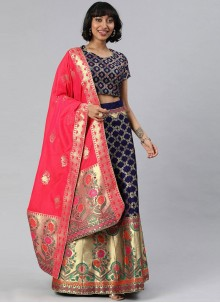 Blue Woven Banarasi Silk A Line Lehenga Choli
