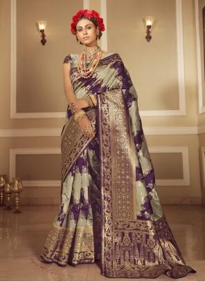 Purple And Grey Woven Banarasi Silk Designer Traditional Saree