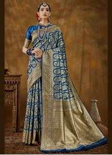 Blue Woven Banarasi Silk Designer Traditional Saree