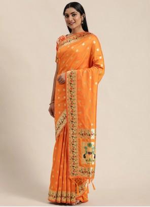 Woven Banarasi Silk Designer Traditional Saree in Mustard