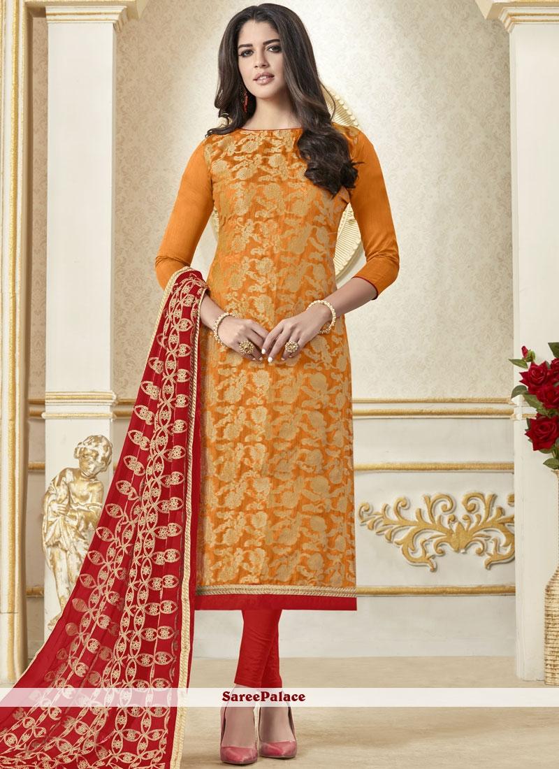 Woven Banarasi Silk Orange Salwar Suit