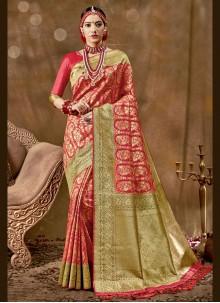 Woven Banarasi Silk Red Traditional Designer Saree