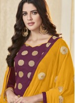Woven Banarasi Silk Salwar Suit in Magenta