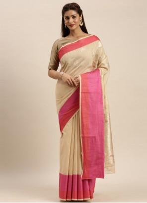 Woven Beige Silk Traditional Designer Saree