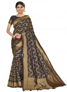 Woven Black Art Silk Traditional Saree