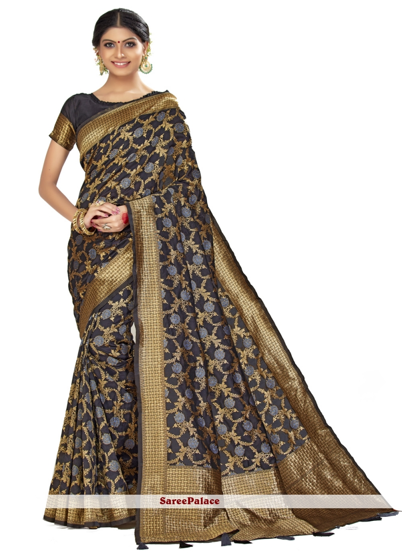 Woven Black Art Silk Traditional Saree
