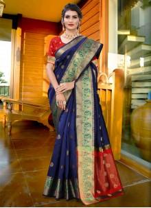 Woven Blue Art Silk Traditional Saree