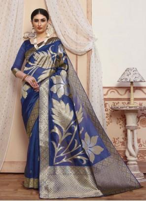 Woven Blue Silk Traditional Saree