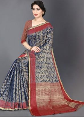 Woven Blue Silk Trendy Saree