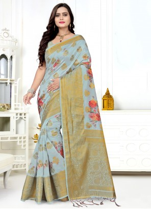 Grey Woven Bollywood Saree