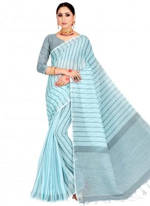 Blue Linen Woven Work Casual Saree