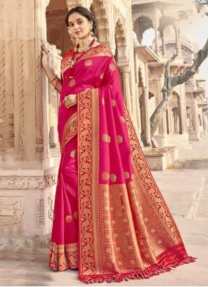 Hot Pink Woven Ceremonial Designer Traditional Saree
