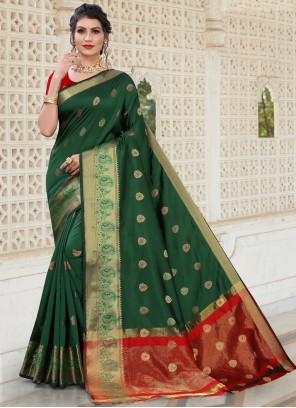 Woven Ceremonial Green Designer Traditional Saree
