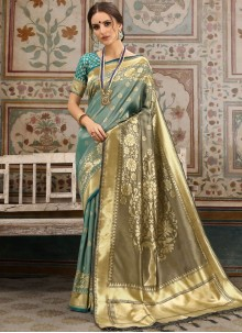 Blue and Brown Woven Ceremonial Traditional Saree