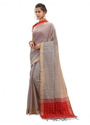 Woven Chanderi Saree in Grey