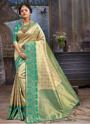 Cream And Green Woven Party Wear Saree