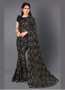 Woven Dark Green Classic Saree