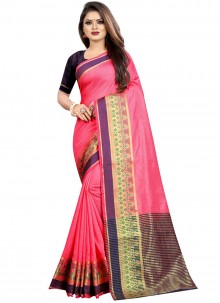 Woven Cotton Classic Designer Saree in Pink