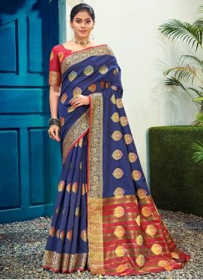 Woven Cotton Silk Blue Traditional Saree