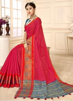 Woven Cotton Silk Rani Traditional Saree