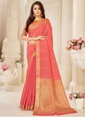 Woven Cotton Silk Rose Pink Traditional Saree
