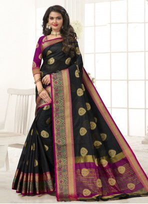 Black Woven Cotton Silk Traditional Designer Saree