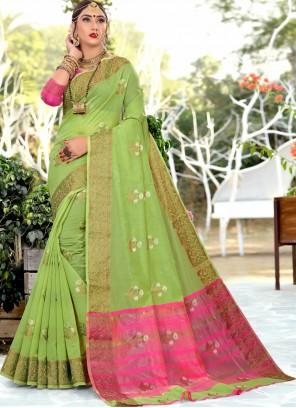 Woven Green Cotton Silk Traditional Saree