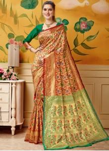 Woven Cream and Red Jacquard Designer Traditional Saree
