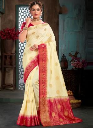Woven Cream Traditional Designer Saree