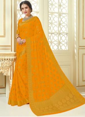 Mustard Woven Crepe Silk Designer Traditional Saree