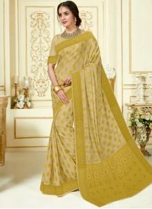 Woven Crepe Silk Gold Designer Traditional Saree