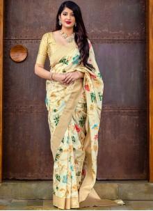 Cream Woven Designer Saree