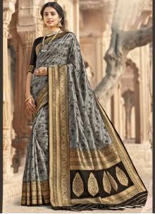 Grey Woven Banarasi Silk Designer Saree
