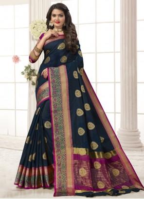 Navy Blue Woven Designer Traditional Saree