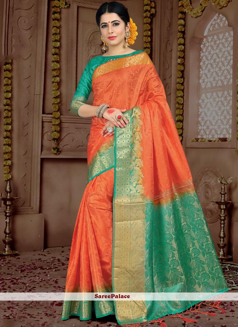 Peach Woven Fancy Fabric Classic Saree
