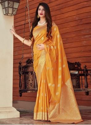 Woven Festival Designer Yellow Traditional Saree