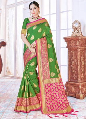 Woven Festival Green Designer Traditional Saree