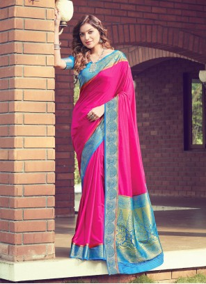 Hot Pink Woven Festival Traditional Designer Saree