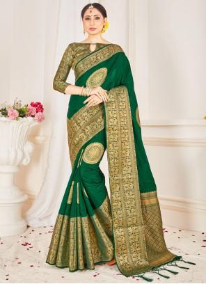 Woven Festival Green Traditional Saree