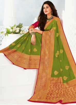 Woven Olive Green Classic Saree