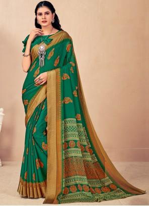 Woven Green Faux Chiffon Classic Saree