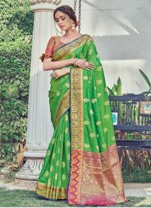 Woven Green Silk Traditional Designer Saree
