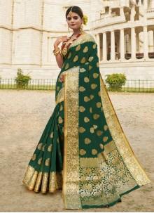 Woven Green Traditional Designer Saree