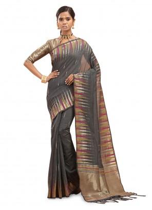 Woven Grey Designer Traditional Saree