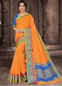 Woven Handloom Cotton Orange Traditional Saree