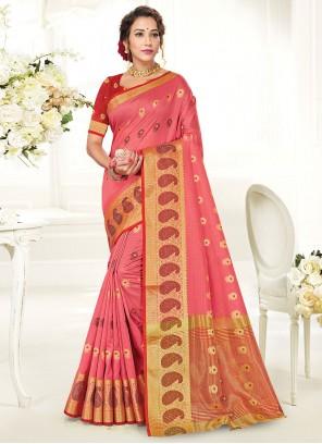 Woven Handloom Cotton Pink Traditional Saree